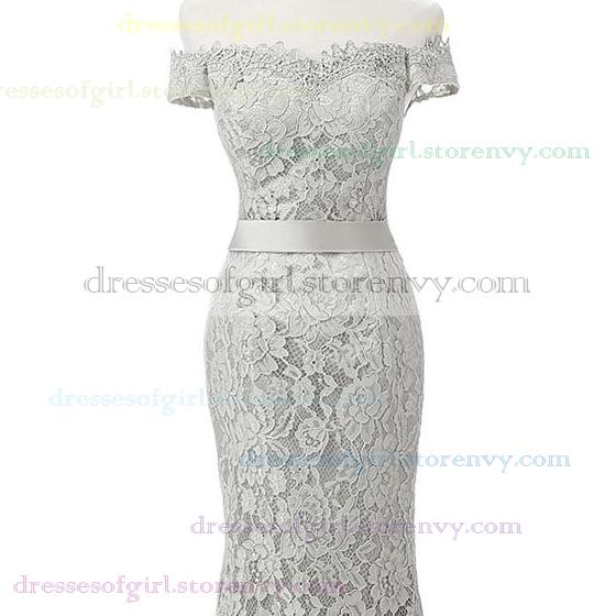 Unique Trumpet/Mermaid Prom Dresses, Off-the-shoulder Lace Evening ...