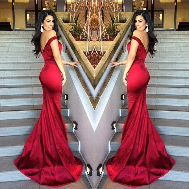 Mermaid Long Red Prom Dresses, Off-the-Shoulder Prom Evening Dresses ...