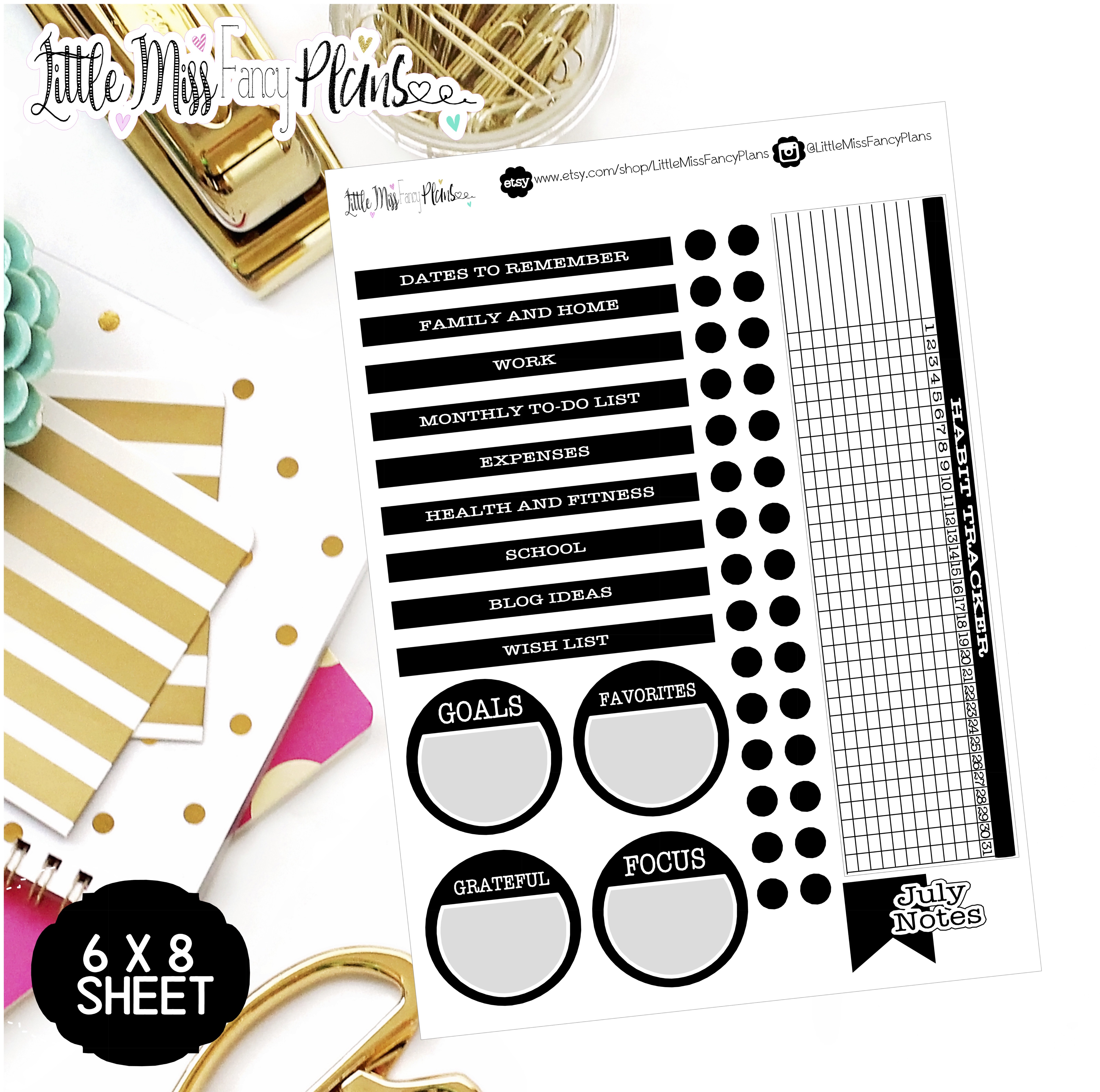 black ec notes page kit erin condren happy planner stickers personal planner