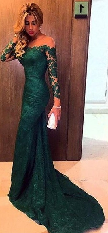 Long Sleeve Lace Prom Dresses