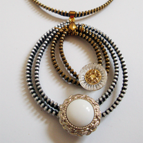 Gold & Silver Zipper Pearl Necklace by Tamarindo