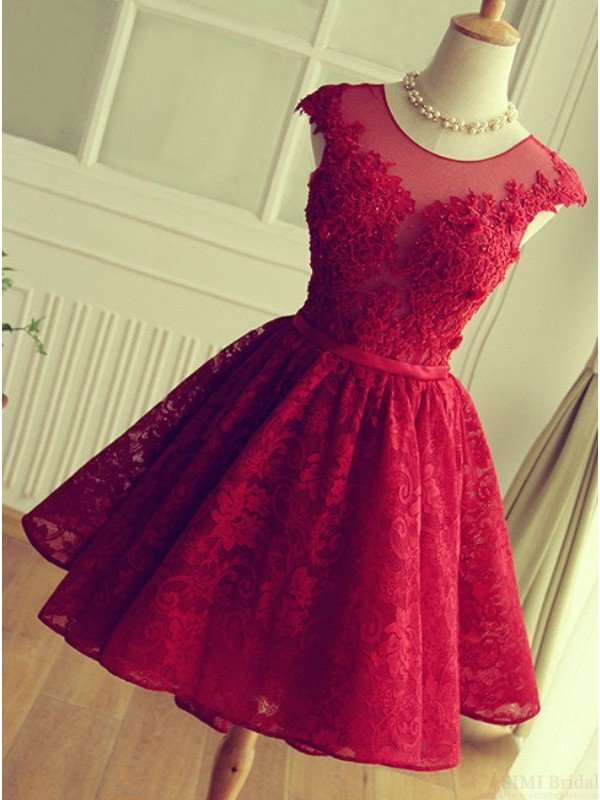 Cute Red Knee Length Red Short Lace Christmas Party Dresses 1