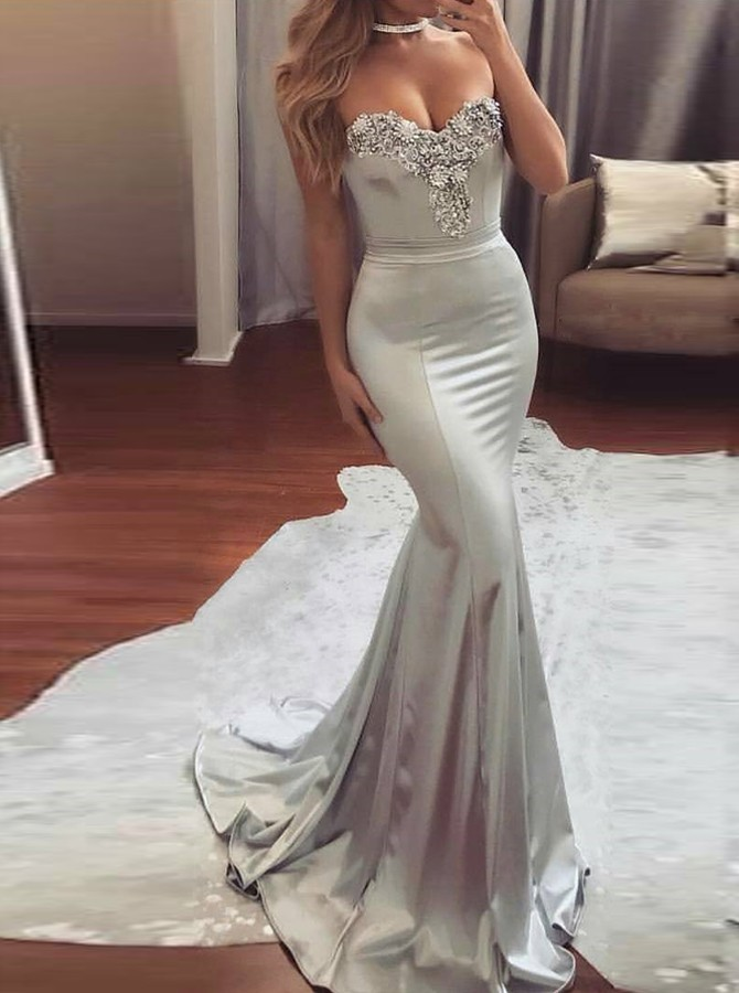 Unique Mermaid Sweetheart Sweep Train Silver Elastic Satin Prom ...