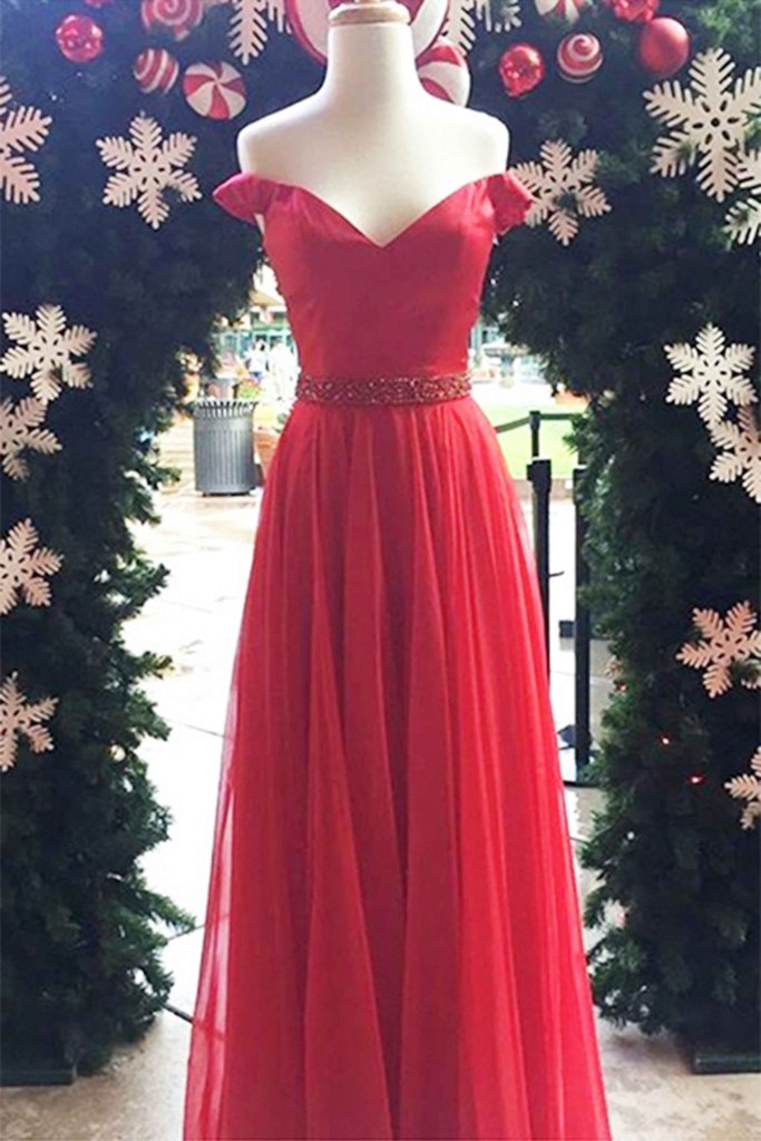 Red tulle off-shoulder long evening dresses,unique prom dress · Prom ...