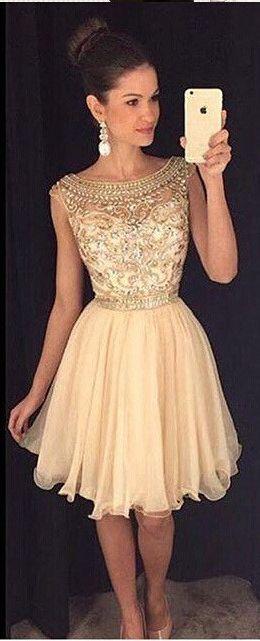 Charming Champagne Gold Homecoming Dress ,Cap Sleeves Rhinestones ...