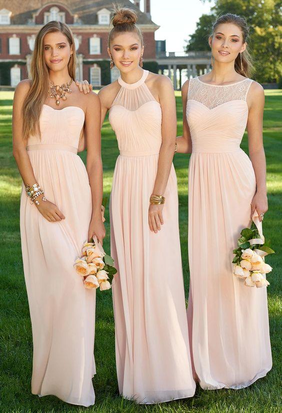 Blush pink long chiffon bridesmaid dress