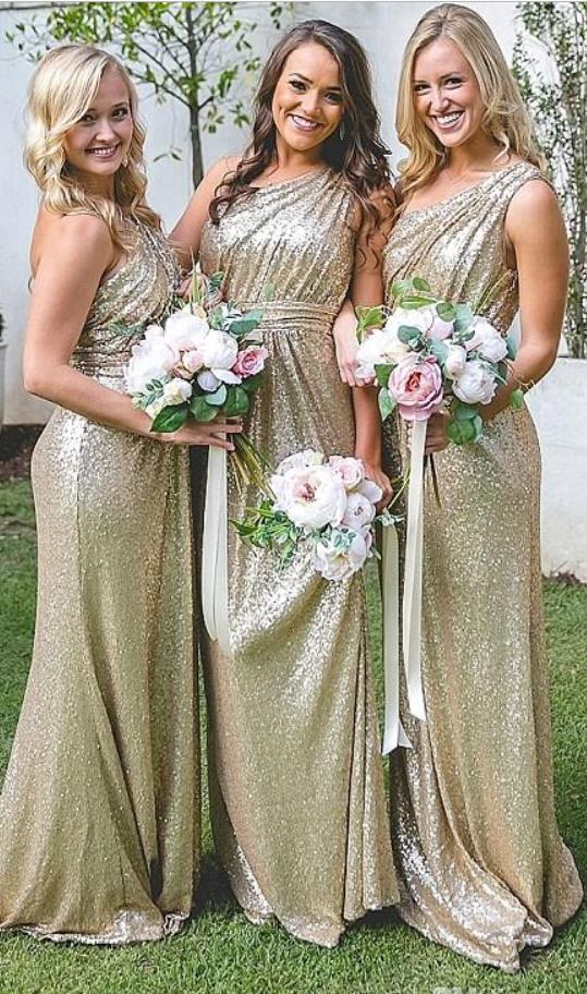 Elegant One Shoulder Full Sequined Bridesmaid Dresses New Design ...