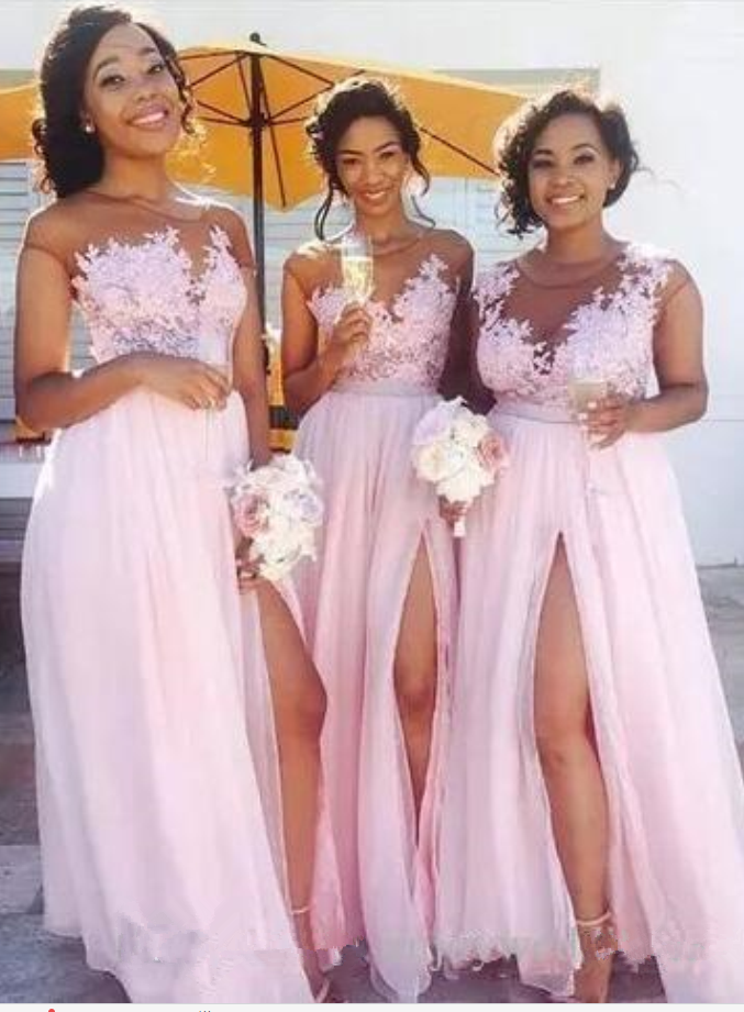 Pink Long Bridesmaid Dresses Sheer Neck Short Sleeves Side Slit ...