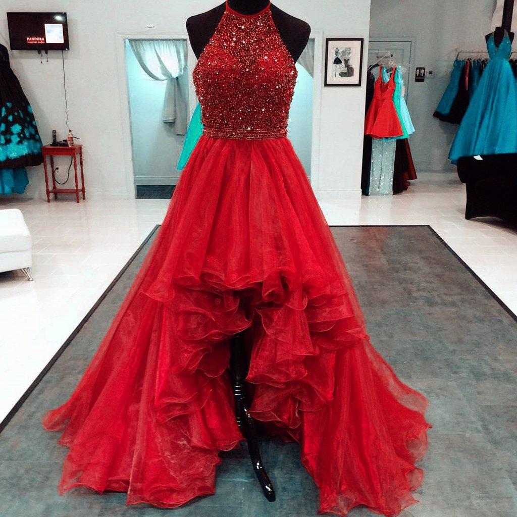 E257 Beaded Halter Organza Ruffles High Low Prom Dresses · EVERJADE ...