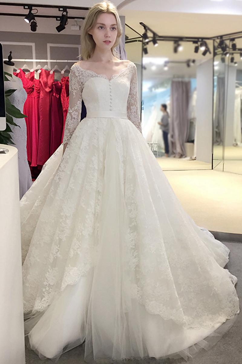 2017 spring Newest elegant wedding dress v -neck design with lace ...