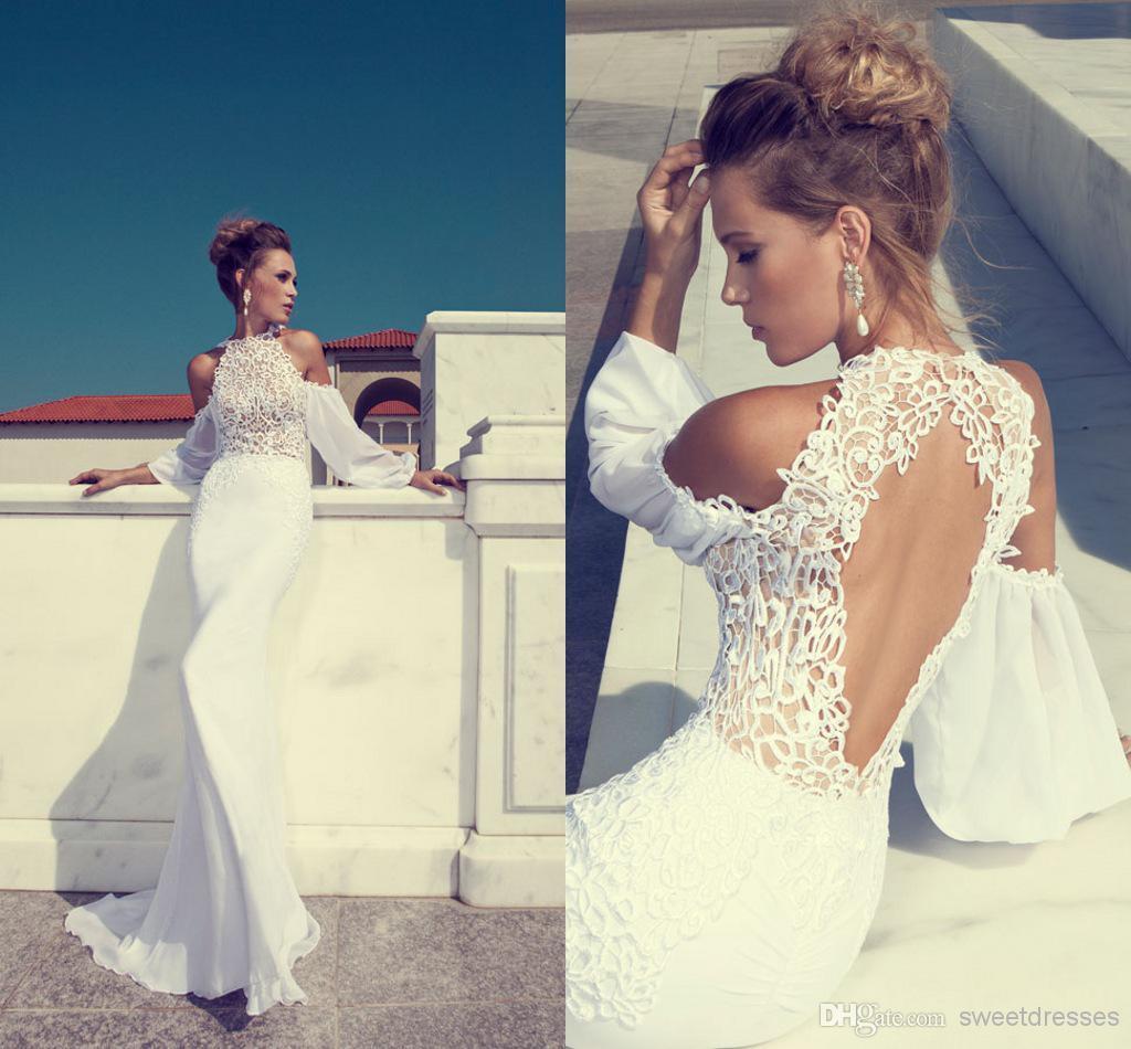 Backless Beach Wedding Dresses High Neck Mermaid Lace Chiffon Sweep