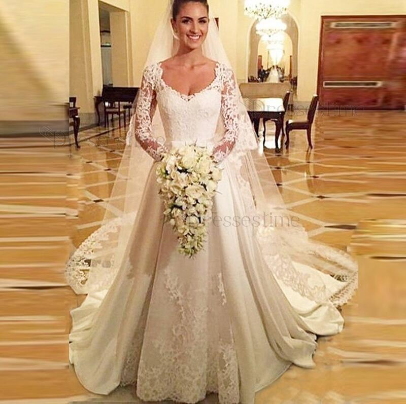 Classic A Line Long Sleeve Satin Lace Wedding Dress V Neck Elastic