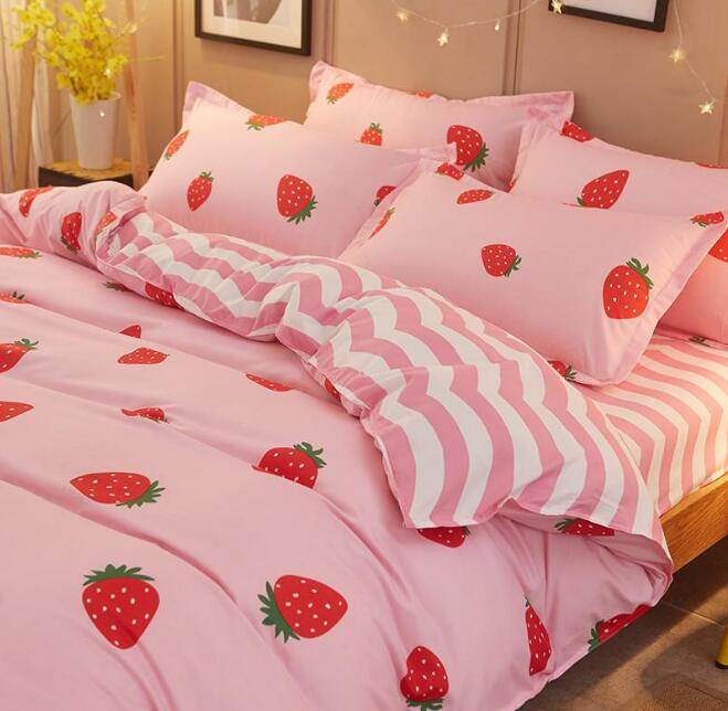 ... Pink Strawberry Prints Bed Sheet Set 4 Pieces   Thumbnail 2