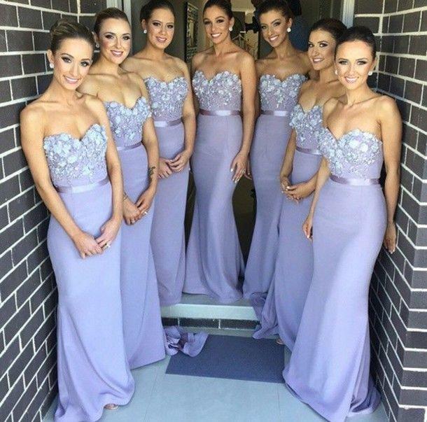 Purple Bridesmaid Dress, Mermaid Bridesmaid Dress,Lace Top ...