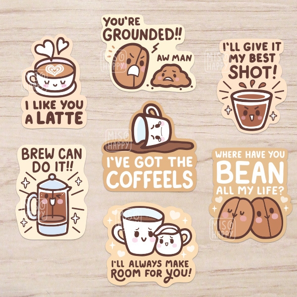 Coffee puns vinyl stickers · mis0happy · online store powered by storenvy