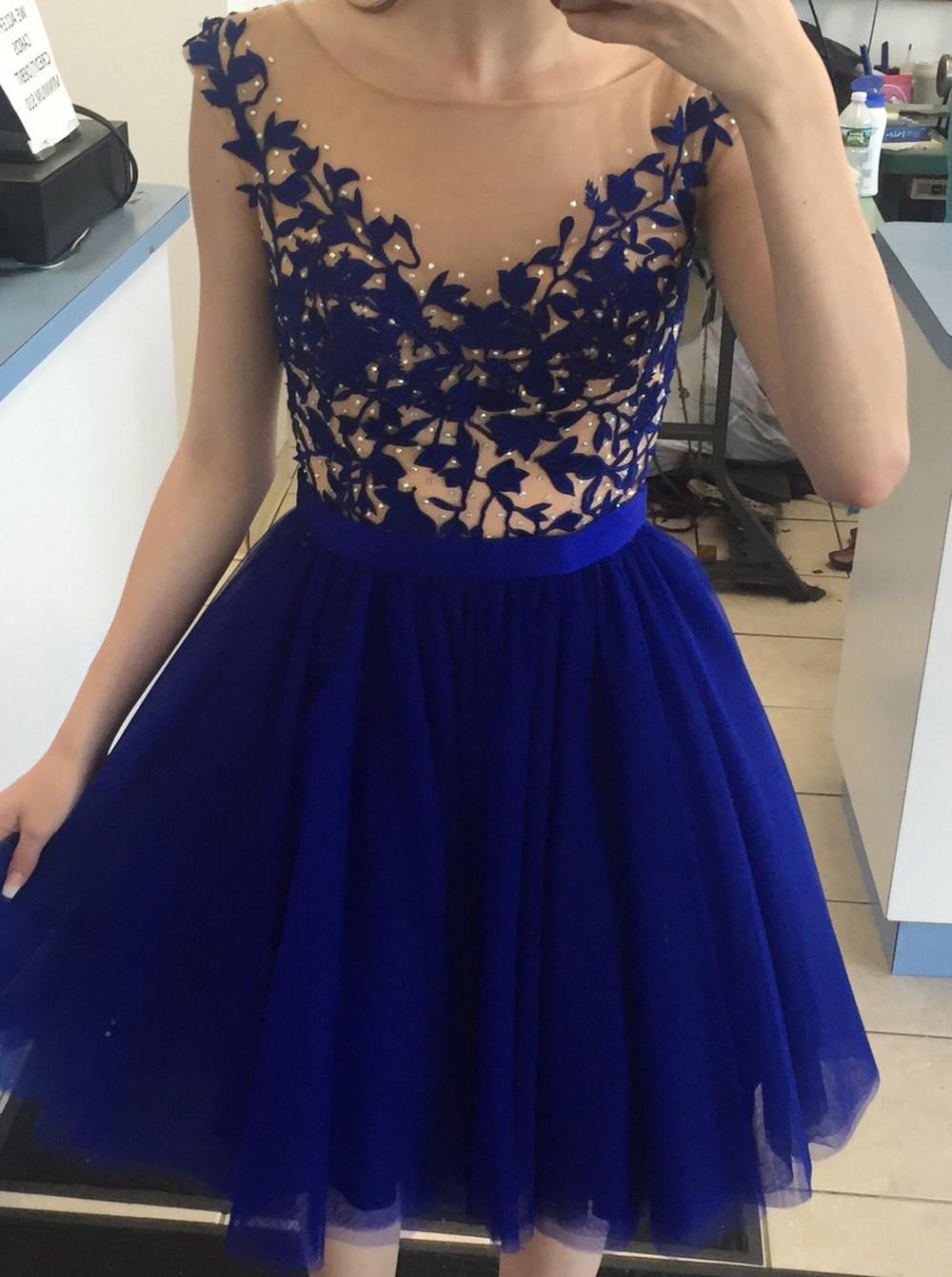 Blue Short Tulle Dresses