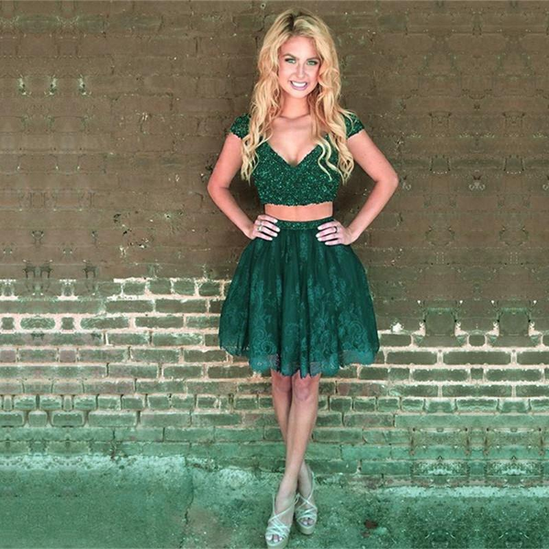 Beaded Cap Sleeves Emerald Green Homecoming Dresses Two Piece Prom