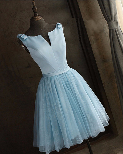 Light Blue Lace A Line Formal Homecoming Dresstulle Prom Dresses