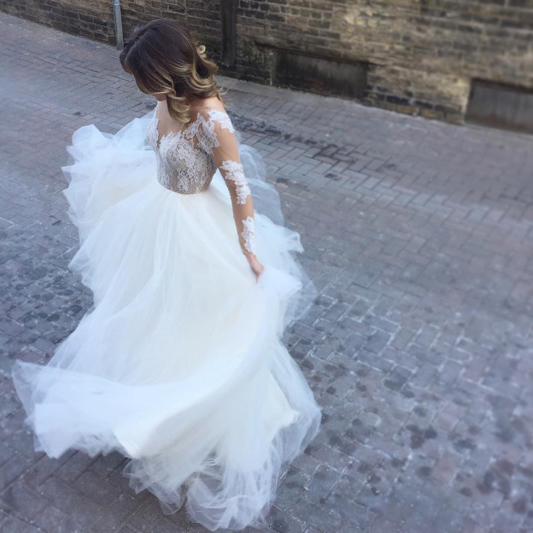 long sleeves wedding dress,wedding gowns lace appliques,open back ...
