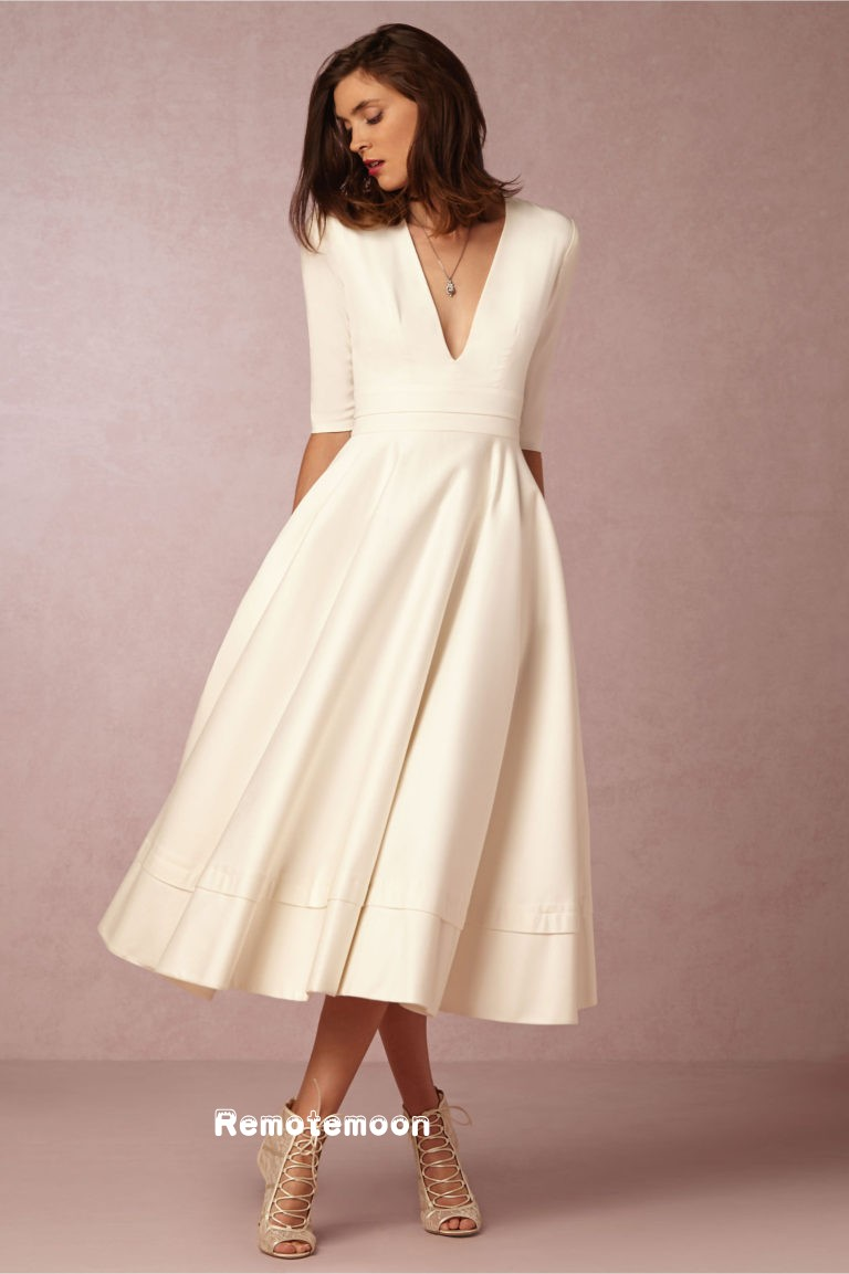 Vintage 1950\'s Tea Length Wedding Dress ,Summer Short Beach Wedding ...
