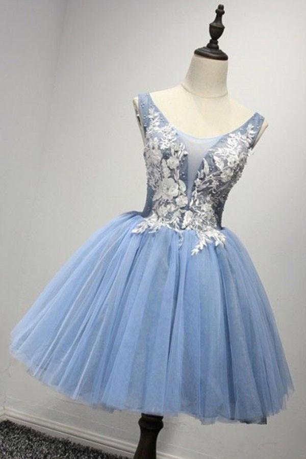 A-line/Princess Tea-length Light Blue Chiffon Cute Sleeveless V-Neck ...