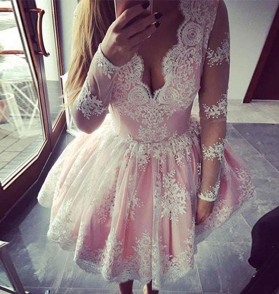 Long Sleeves White Lace Pink Satin Short Prom Dresses Homecoming ...