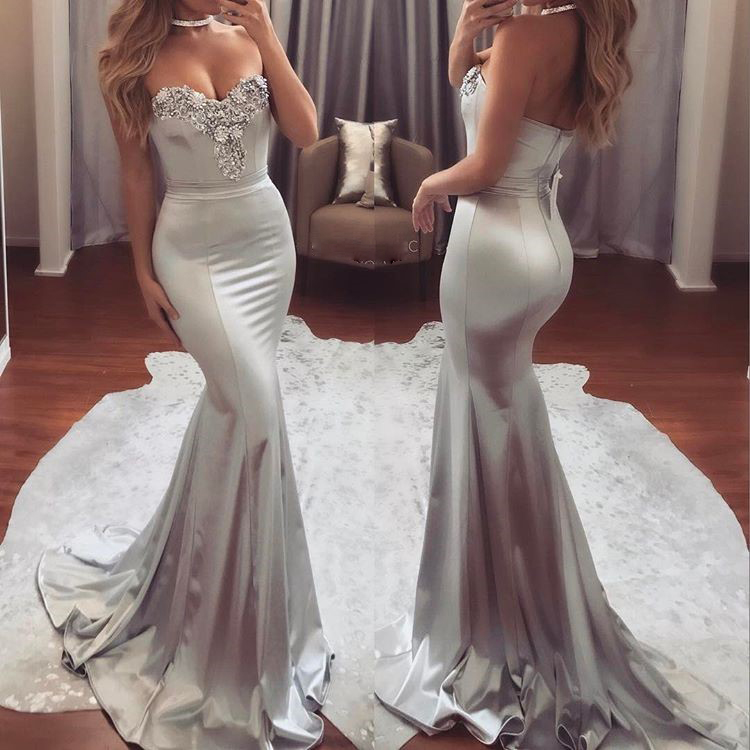 Beaded Silver Sweetheart Mermaid Prom Dress,Evening Gown Sweep Train ...