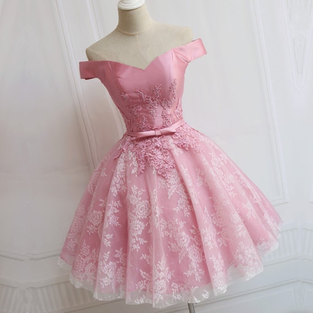 A-line/Princess Mini Pink Satin Cute Sleeveless Off-the-Shoulder ...