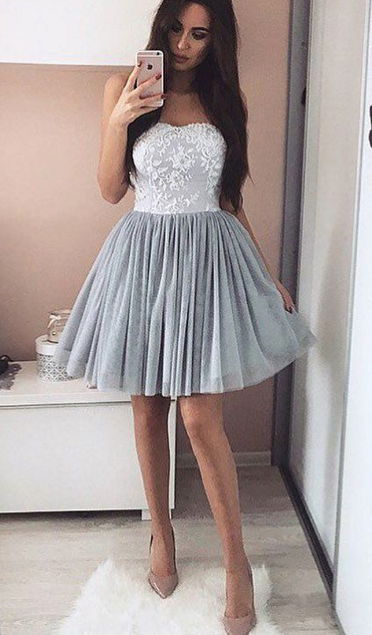 A-Line Short Appliques Sweetheart Appliques Simple Homecoming Dress ...