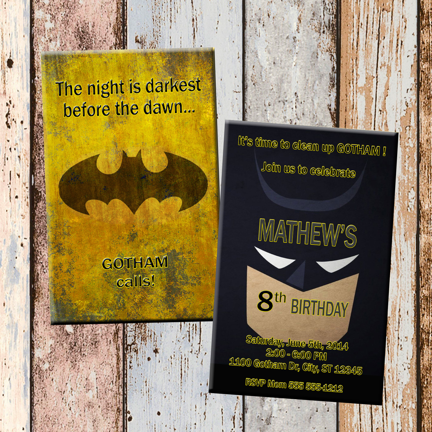 Batman Superhero Personalized Birthday Invitation 2 Sided Card Party