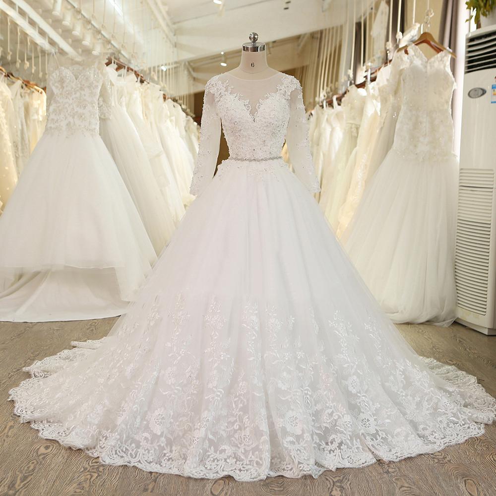 A264 Ball Gown Princess Wedding Dress With Crystal Sash Long Sleeves ...