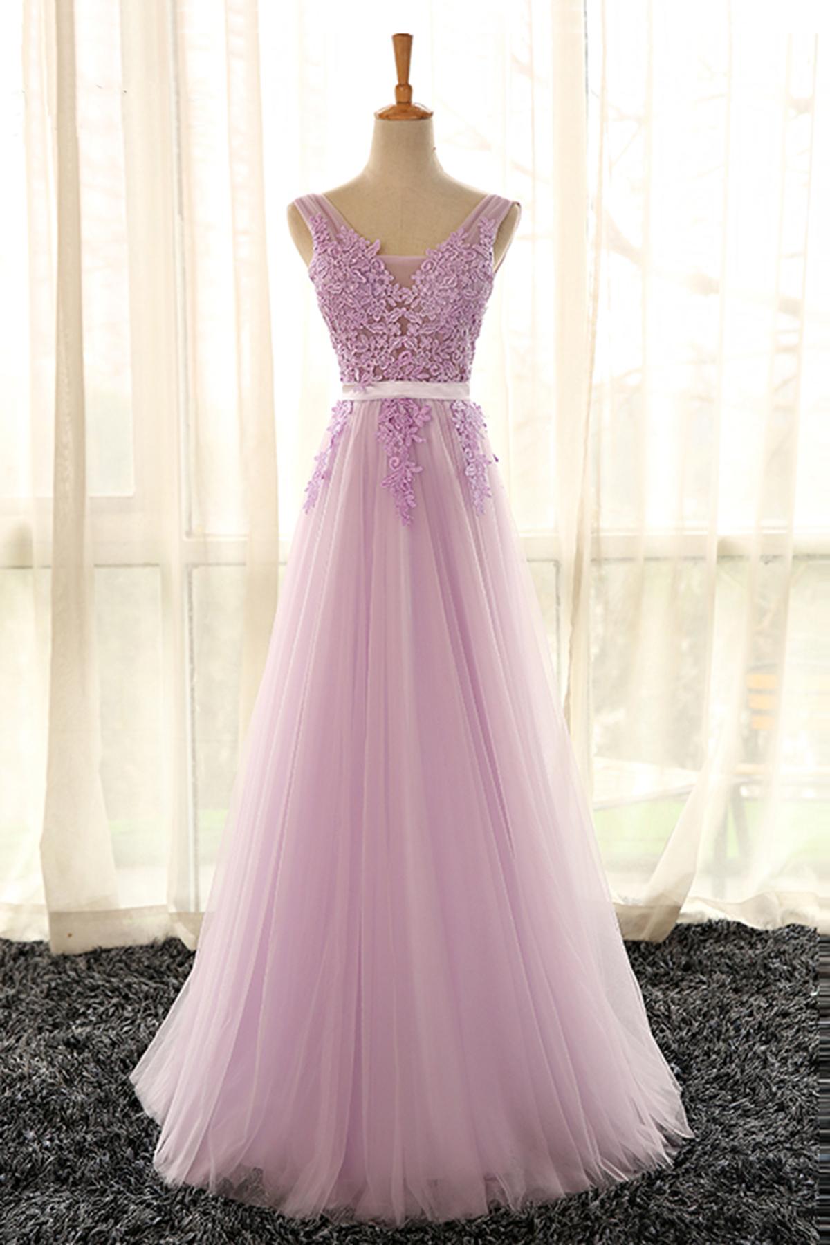 Lace lilac prom dress 2019
