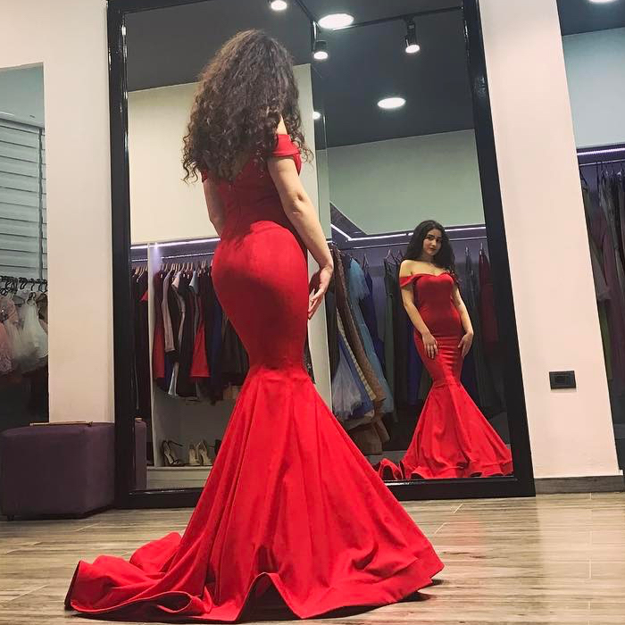 Elegant Red Off-The-Shoulder Mermaid Prom Dress And Evening Gown ...