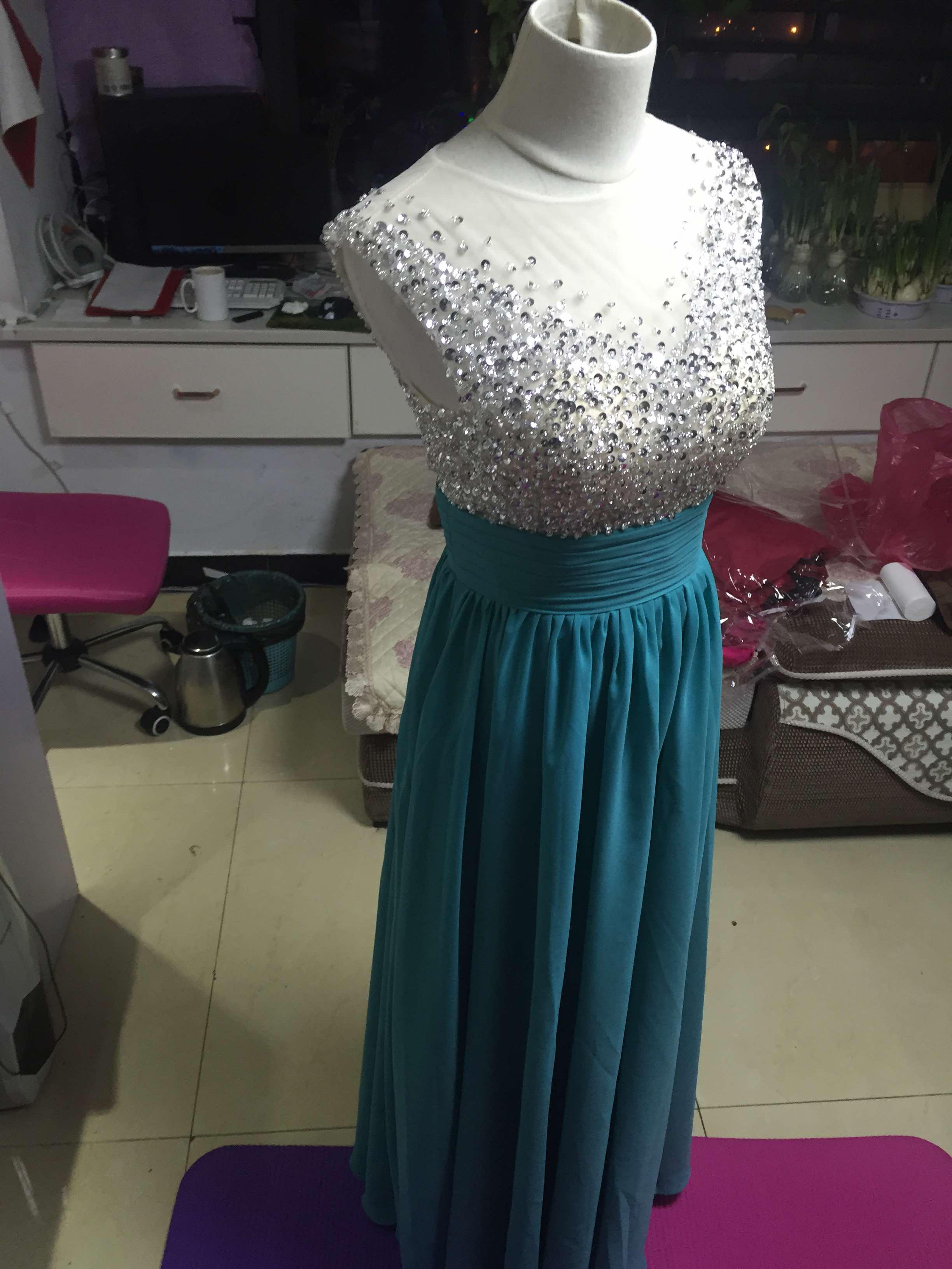 A78 Handmade Beaded Long Chiffon Prom Gowns, Empire Waist Evening ...