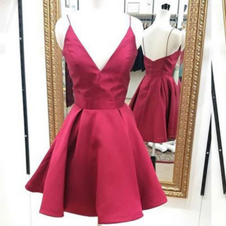 Short Dark Red Homecoming Dresses Straps Prom Dresses Simple Short