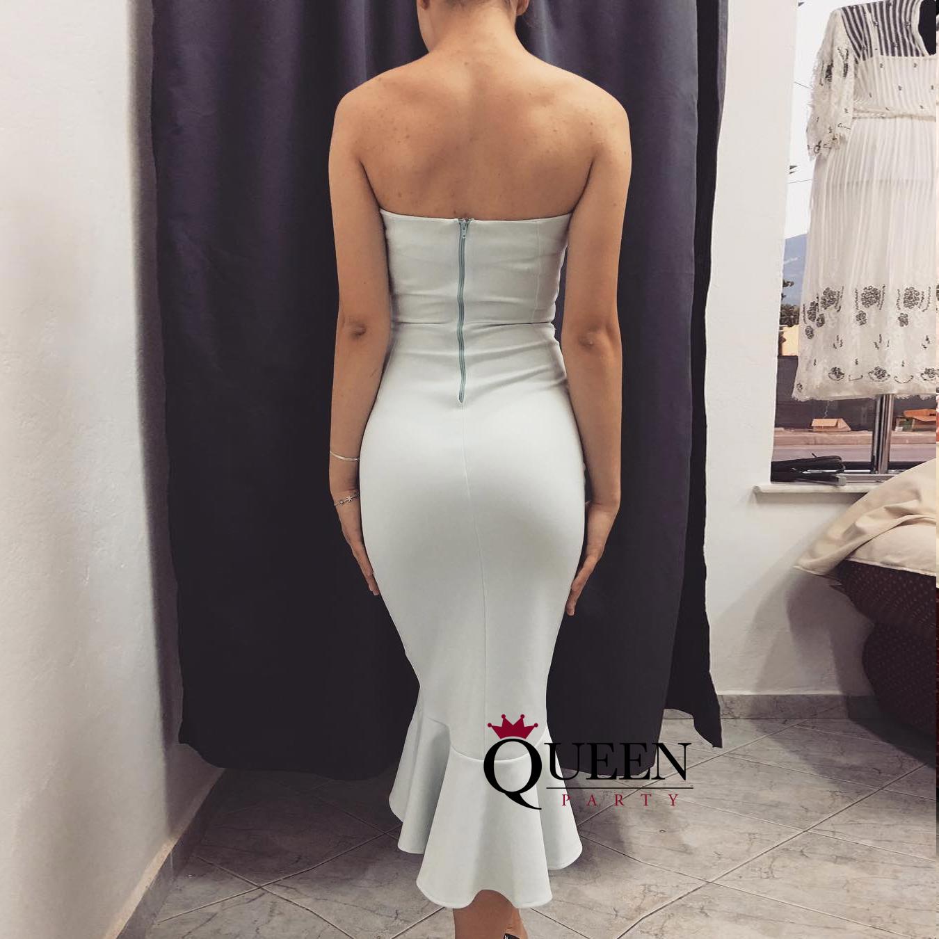 Ivory White Sweetheart Mermaid Satin Sheath Fishtail Prom Dress ...