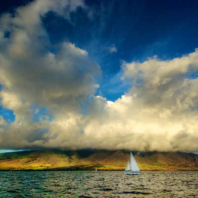 Maui sailboat cloudscape