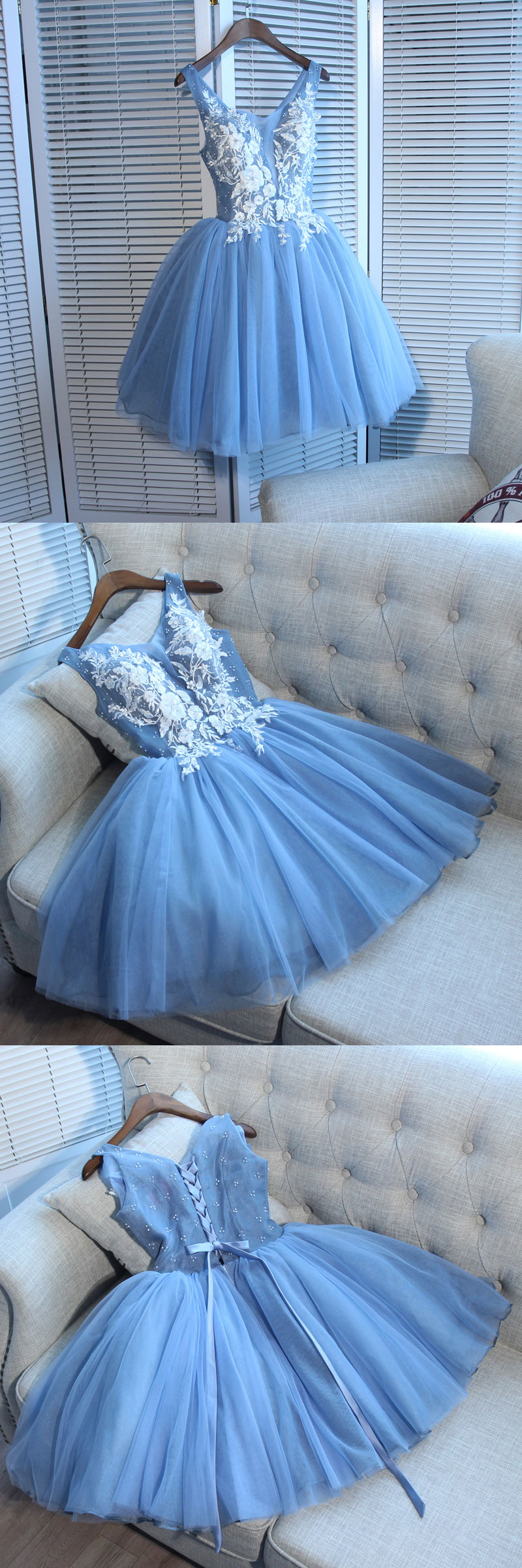 of girl   Cute blue lace short prom dress, blue homecoming dress ...
