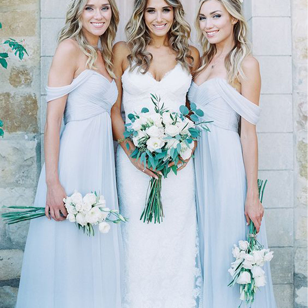 Pale blue bridesmaid dress, mismatched bridesmaid dresses, chiffon ...