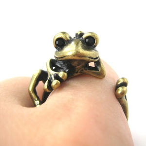 Miniature Frog Animal Wrap Around Hug Ring in Bronze - Size 4 to 9 Available
