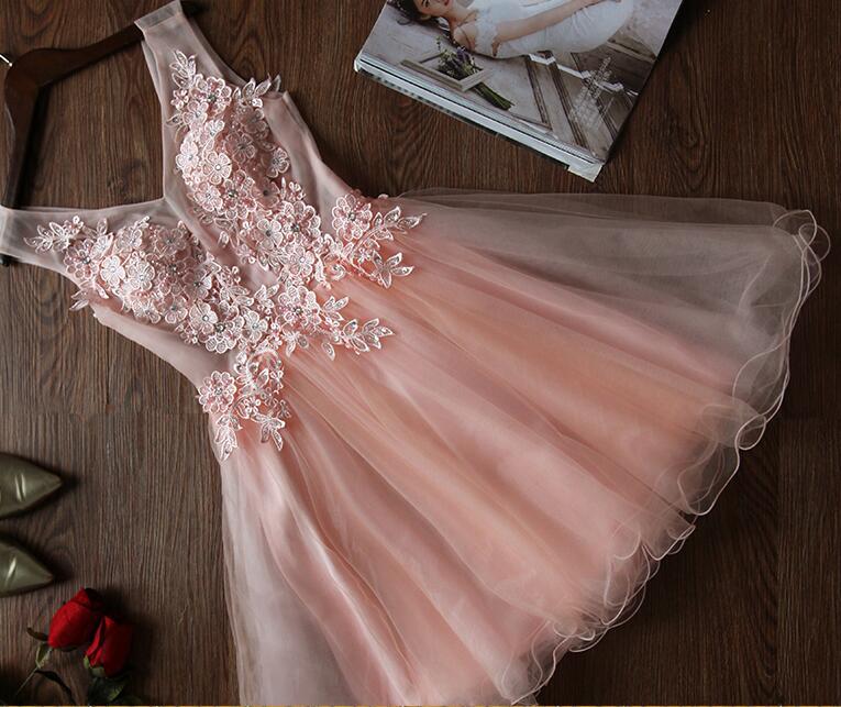 A389 Blush Pink bridesmaid dresses, Lace bridesmaid dresses, Short ...