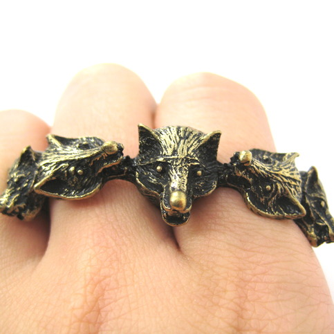 3d wolves wolf pack duo finger animal ring in