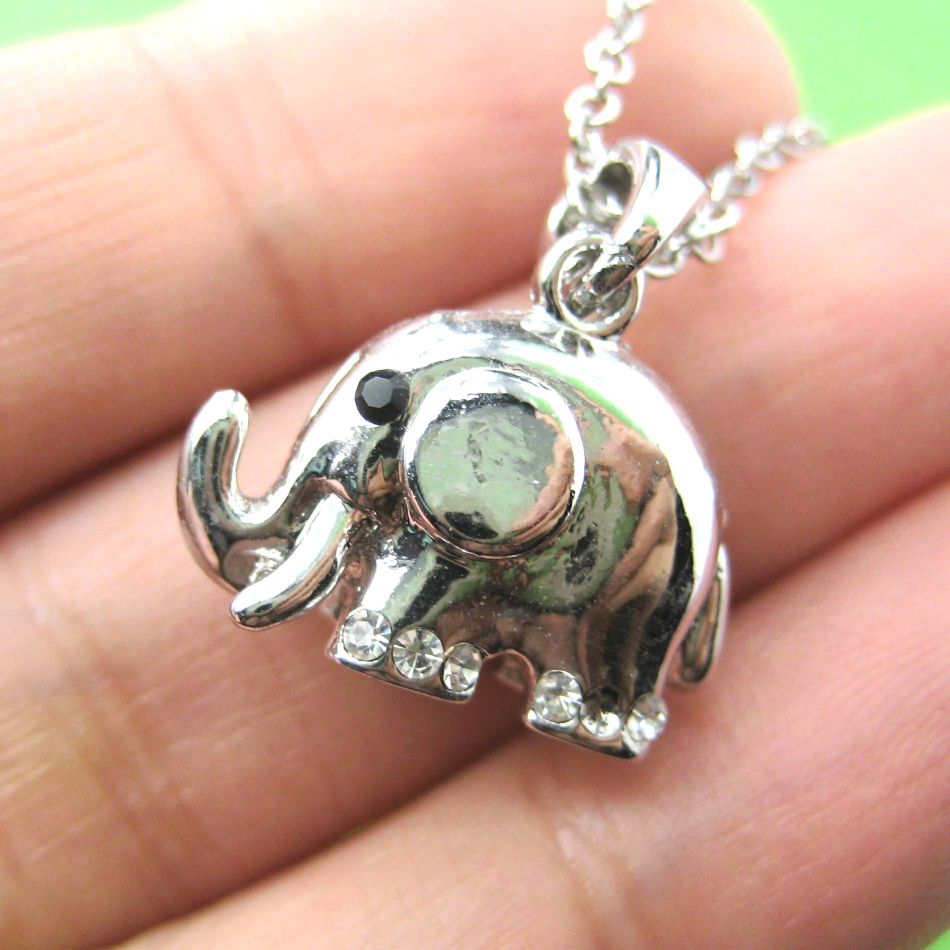 3d small elephant pendant necklace in silver dotoly animal jewelry 3d small elephant pendant necklace in silver aloadofball Gallery