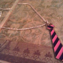 Punk Tie Necklace - Pink and Purple