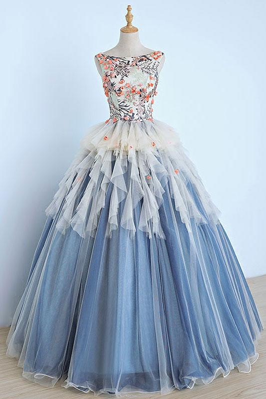 Light Blue Tulle Long Appliques Senior Prom Dress 3d