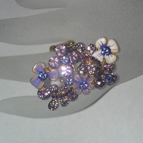 Purple Flowers Jeweled Ring