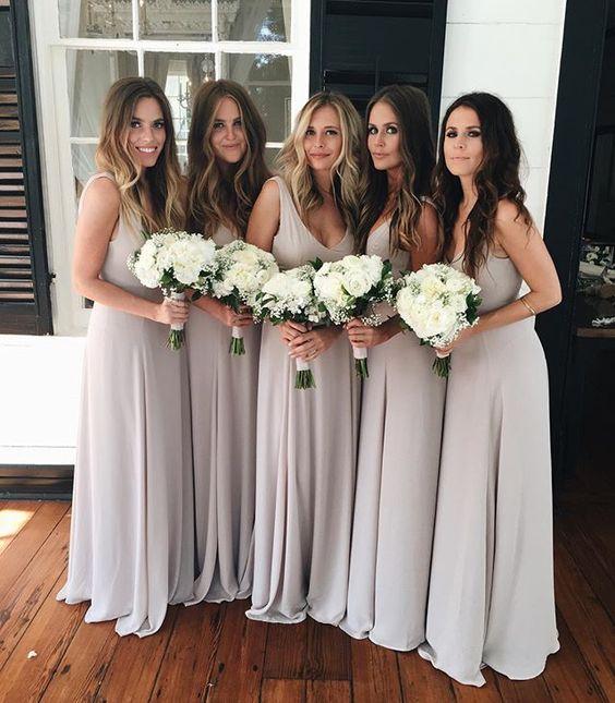 Spaghetti Straps Long Chiffon Bridesmaid Dresses,Simple Elegant ...
