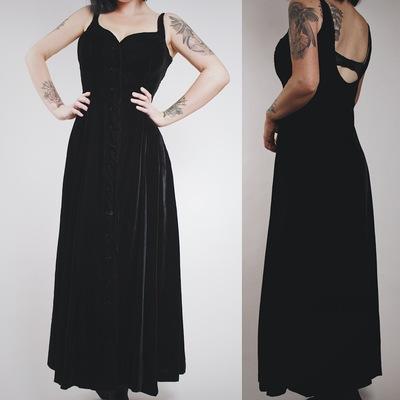 Claimed  vamps420 - vintage 90s black velvet button-front