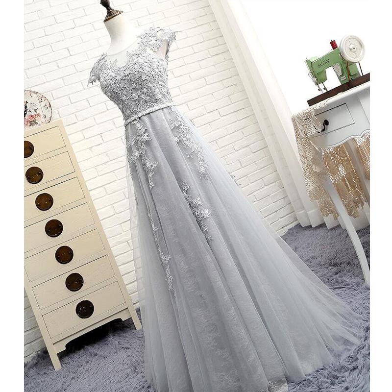 Long prom dress, cap sleeve prom dress, lace prom dress, grey prom ...