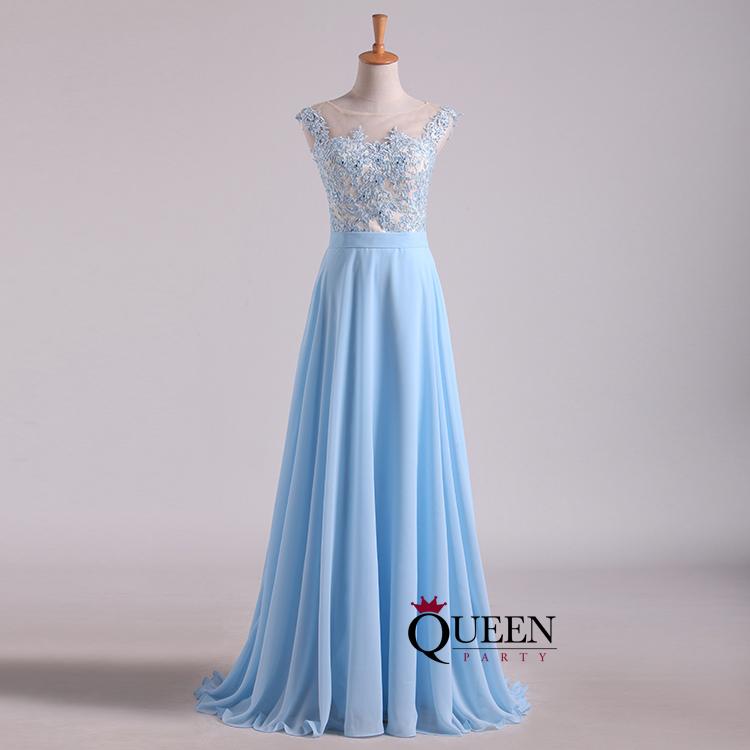 Designer Light Blue Lace Top Illusion Chiffon Long Prom Dress With ...